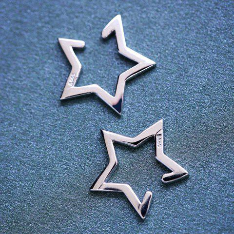 Unique Pair of Alloy Hollow Out Star Shape Clip Earrings