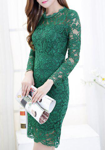 Best Ladylike Round Collar Candy Color Long Sleeve Lace Dress For Women