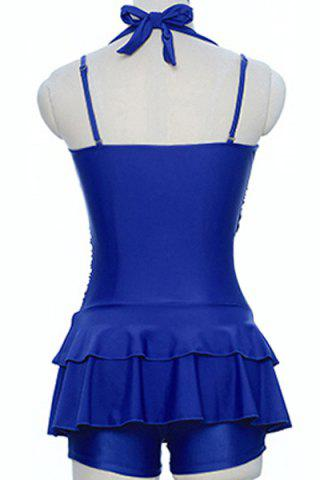 Best Sweetheart Neck Pure Color Halter Tankini Swimwear - 2XL BLUE Mobile