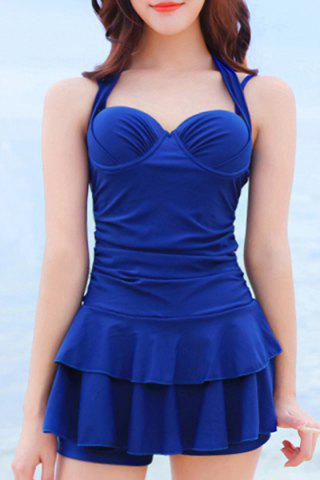 Outfit Sweetheart Neck Pure Color Halter Tankini Swimwear - M BLUE Mobile