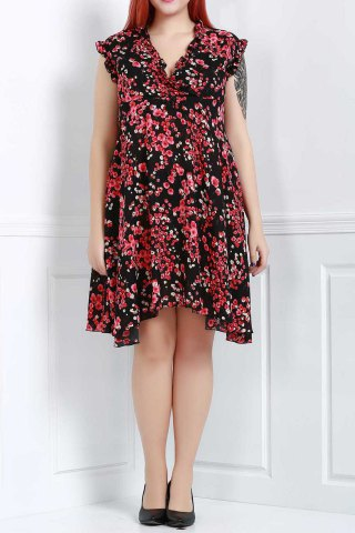 Trendy Graceful V-Neck Sleeveless Chiffon Tiny Floral Print Dress For Women