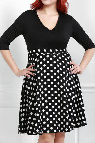 Fancy V Neck Half Sleeve Polka Dot Skater Dress BLACK XL