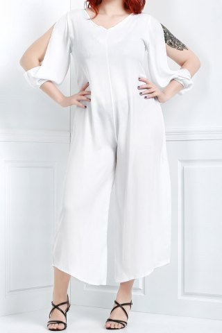 Buy V Neck Long Sleeve Plus Size Jumpsuit - L WHITE Mobile
