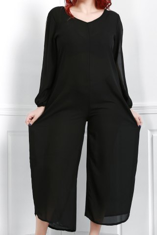 New V Neck Long Sleeve Plus Size Jumpsuit
