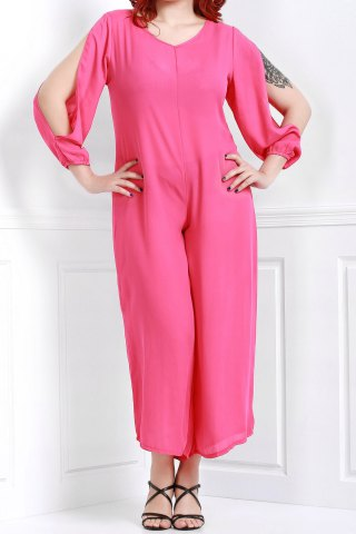 Outfit V Neck Long Sleeve Plus Size Jumpsuit - 4XL ROSE Mobile