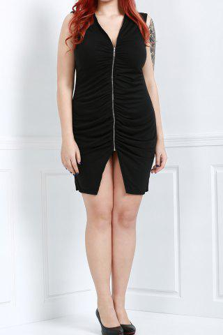 Latest Sexy Plunging Neck Black Cut Out Plus Size Sleeveless Bodycon Dress For Women