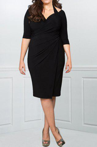 New Sexy Halter Half Sleeve Hollow Out Solid Color Wrapped Midi Dress For Women BLACK L