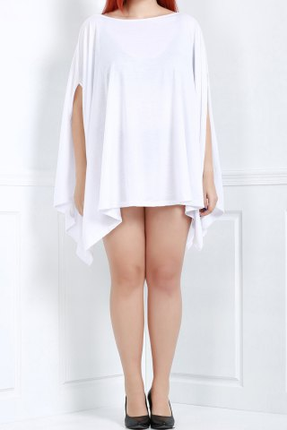 Outfits Asymmetric Loose Tunic Casual Dress WHITE 3XL