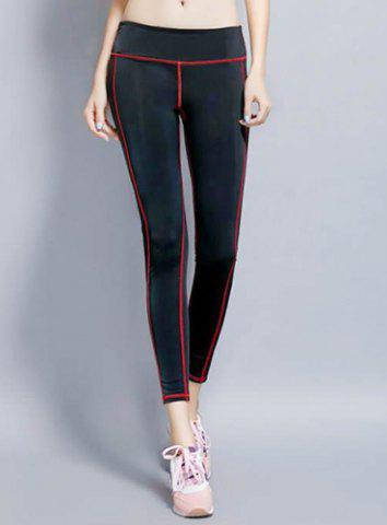 New Stylish Elastic Waist Color Block Slimming Yoga Pants For Women RED S