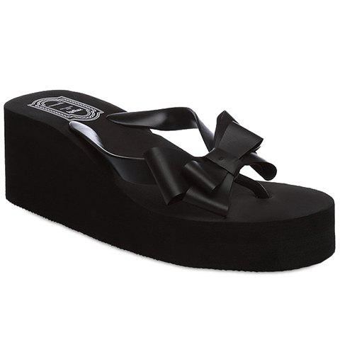 Concise Platform and Bow Design Slippers For Women - BLACK - 39