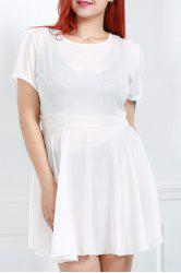 Sweet White Jewel Neck Short Sleeve High Waist Ruffled Plus Size Dress For Women