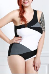One Shoulder Color Block One-Piece Swimsuit