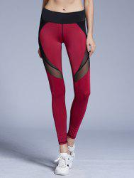 Stylish Elastic Waist Color Block Voile Spliced Yoga Pants For Women - RED L