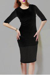 Women's Stylish Scoop Neck 1/2 Sleeve Pure Color Pencil Dress -