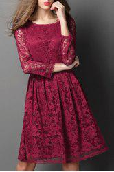 Ladylike Round Neck Long Sleeve Hollow Out Solid Color Lace Dress For Women -