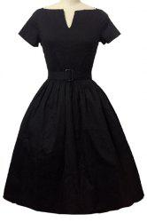 Retro Style V Neck Short Sleeve Solid Color Belted Ball Gown Dress For Women - BLACK