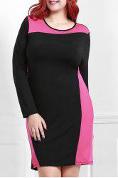Elegant Round Collar Color Block Long Sleeve Dress For Women -