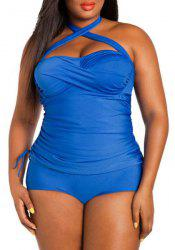 Sexy Halter Sleeveless Ruched Plus Size Swimwear For Women