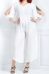 V Neck Long Sleeve Plus Size Jumpsuit - WHITE