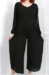 V Neck Long Sleeve Plus Size Jumpsuit - BLACK