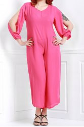 V Neck Long Sleeve Plus Size Jumpsuit - ROSE