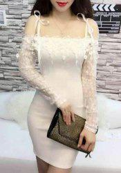 Sexy Off The Shoulder Lace Spliced Long Sleeve T-Shirt For Women -