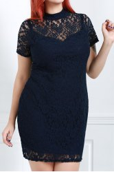 Scoop Neck Short Sleeve Lace Cocktail Dress - BLACK