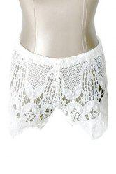 Stylish White Hollow Out Women's Shorts