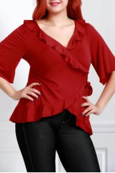 Stylish Bell Sleeve Pure Color Plus Size Blouse For Women