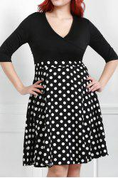 V Neck Half Sleeve Polka Dot Skater Dress -