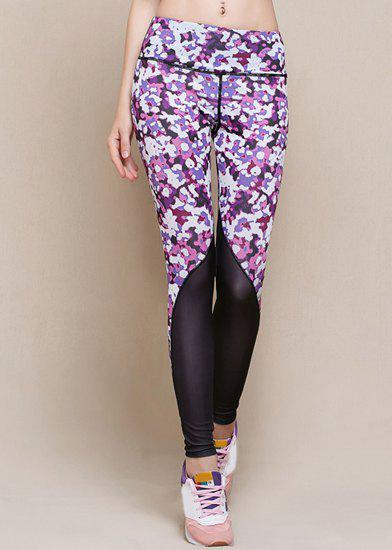 Online Stylish Elastic Waist Printed Skinny Yoga Pants For Women