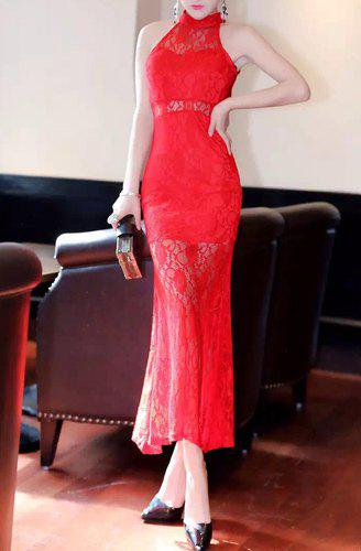 New Sleeveless Lace High Neck Long Tight Evening Dress