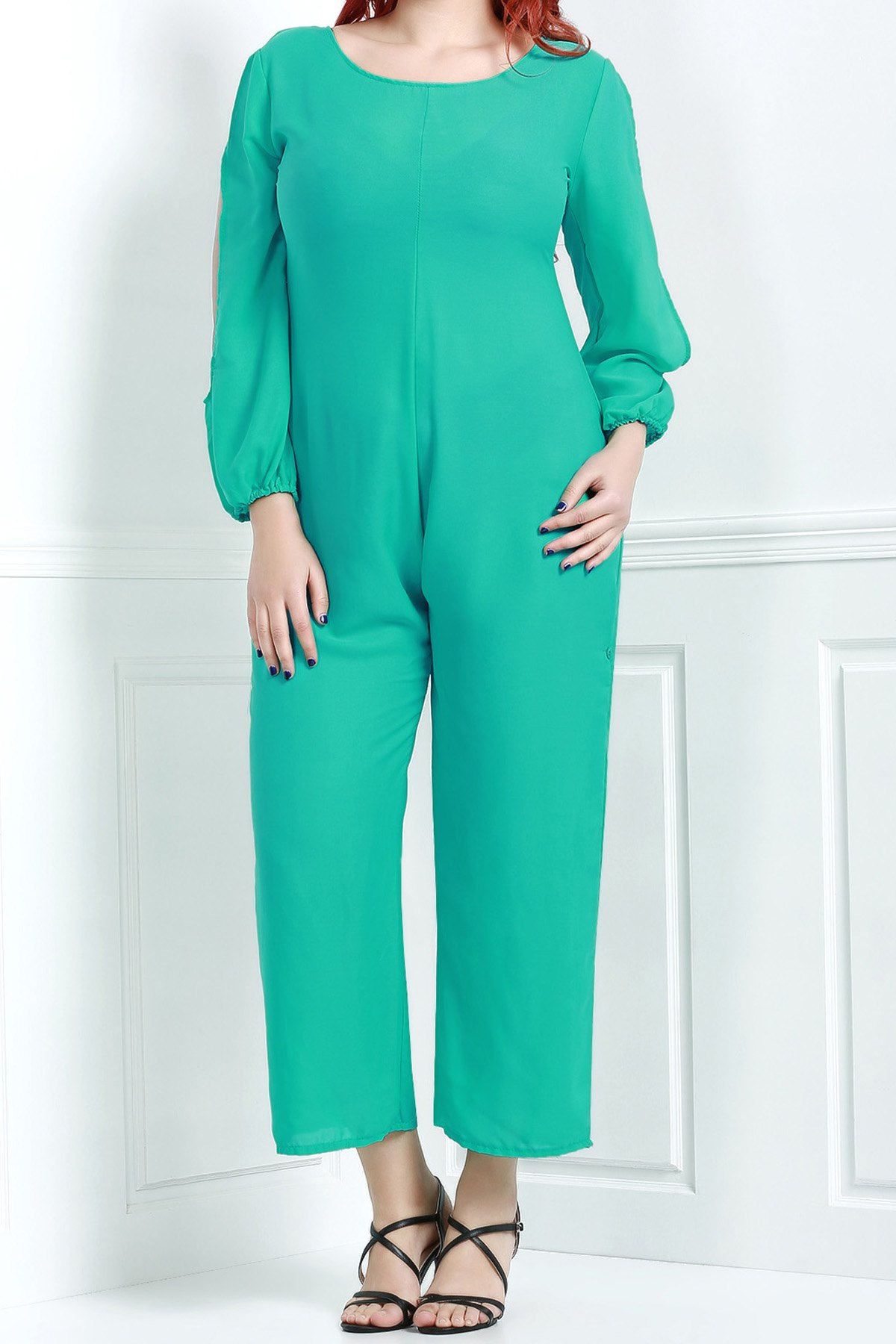 Affordable V Neck Long Sleeve Plus Size Jumpsuit