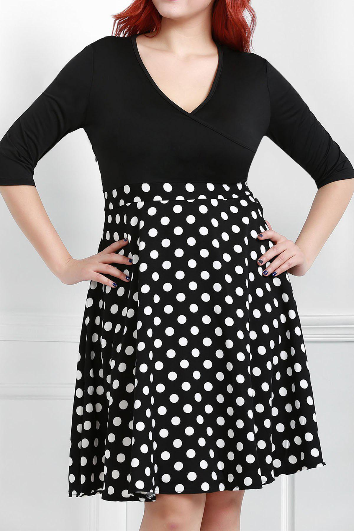Fancy V Neck Half Sleeve Polka Dot Skater Dress