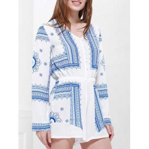 Long Sleeve Printed Buttoned Playsuit -