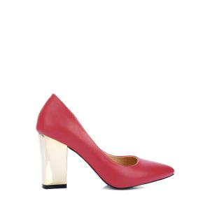 Concise Pointed Toe and Chunky Heel Design Pumps For Women