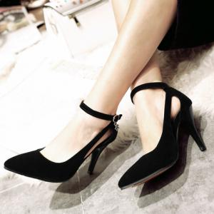 Stylish Ankle Strap and Hollow Out Design Pumps For Women - BLACK 37
