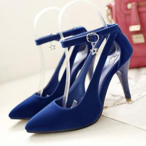 Stylish Ankle Strap and Hollow Out Design Pumps For Women - BLUE 39
