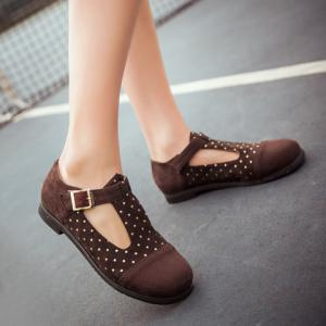 Leisure Suede and T-Strap Design Flat Shoes For Women -