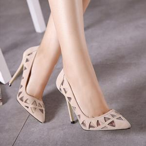 Sexy Flock and Hollow Out Design Pumps For Women - APRICOT 37