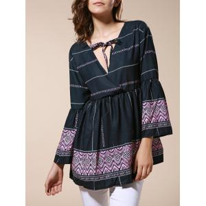 Ethnic Style V-Neck Bell Sleeve Printed Blouse For Women