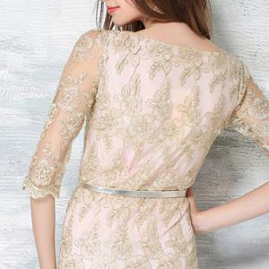 Chic Round Neck 3/4 Sleeve Embroidered Women's Dress -