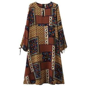 Stylish Round Collar Floral Print Long Sleeve Midi Dress For Women - Colormix - S