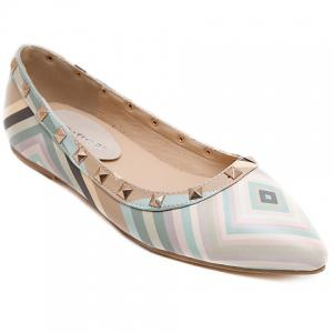 Fresh Style Color Block and Rivets Design Flat Shoes For Women - Light Blue - 39