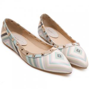 Fresh Style Color Block and Rivets Design Flat Shoes For Women - LIGHT BLUE 39