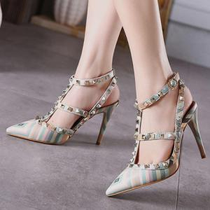 Sweet Color Block and Rivets Design Pumps For Women -