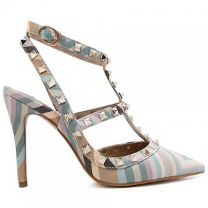 Sweet Color Block and Rivets Design Pumps For Women - GREEN 38