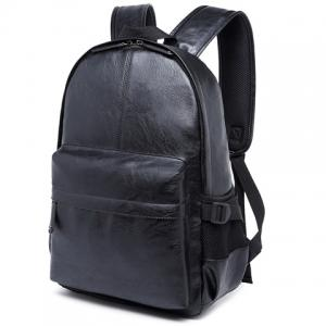 Leisure Zipper and PU Leather Design Backpack For Men - BLACK