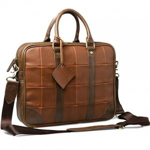 Trendy Plaid and PU Leather Design Briefcase For Men -