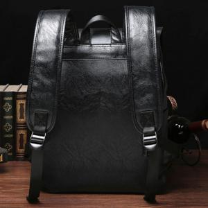 Casual Double Buckle and Black Color Design Backpack For Men -